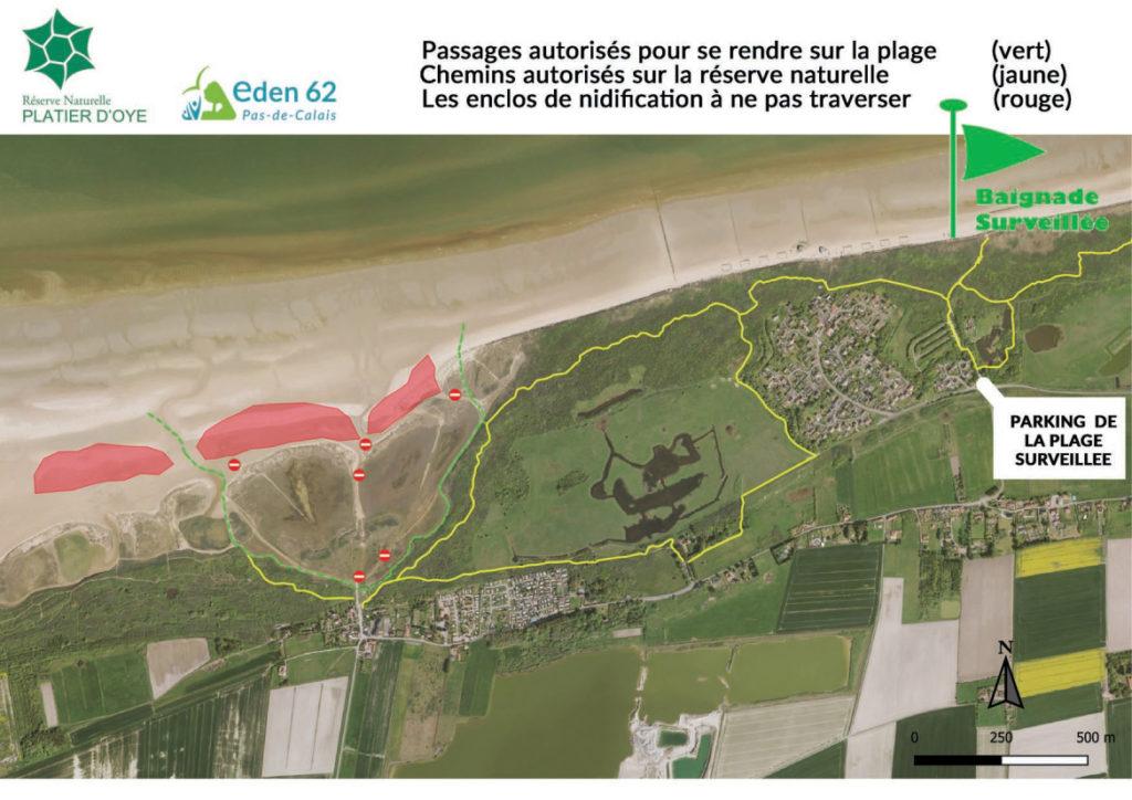 Plan d'accès à la plage du casino.